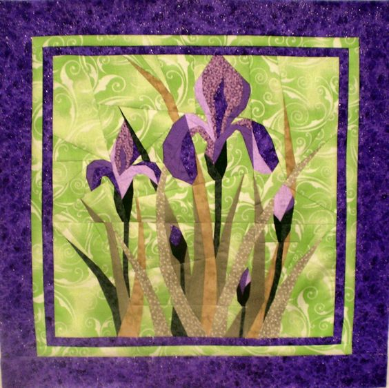 Image result for pieced iris quilt pattern