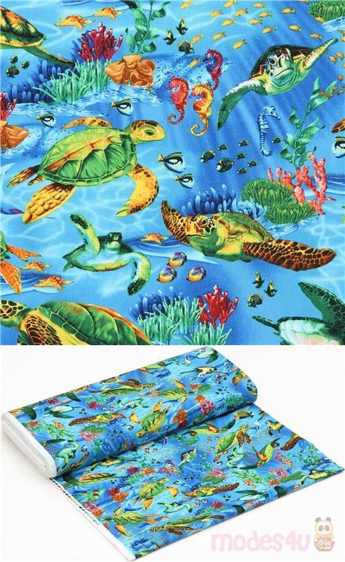 Blaues Baumwollstoff Mit Schildkroten Und Fischen Sehr Hochwertiger Stoff In Der Typischen Qualitat Von Timeless Treasur In 2020 Fabric Timeless Treasures Sea Turtle