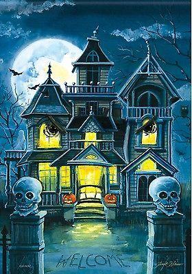 """Mystery Manor Halloween House Flag Haunted House 28"""" x 40"""" Carson"""