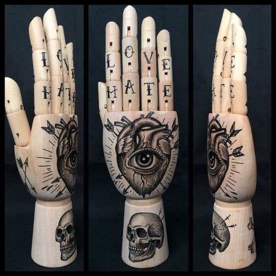 Wooden hand model / mannequin with original by Inkspirednl on Etsy