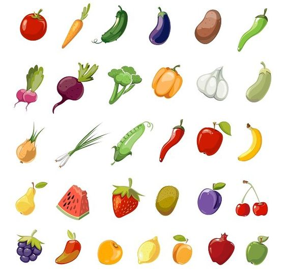 Cartoon fruit and vegetables icons  by MicroOne on @creativemarket