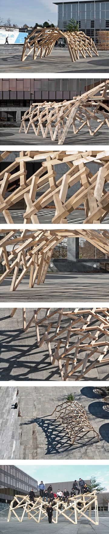 Reciprocal frame structure -  Saddle surface Piazza HIL -  student project led by Swiss architect Udo Thönnissen: