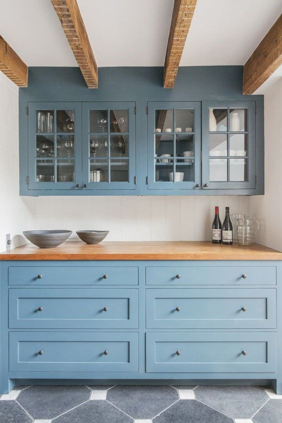 13 New Kitchen Trends Light Blue Cabinets Butcher Block
