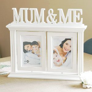 Mum and Me Double White Rustic Wooden Swivel Table Top Photo Frame