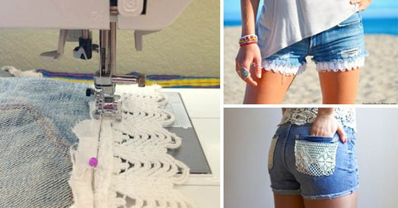 Kreatívne DIY nápady s návodom urob si sám na šortky doplnené krajkou resp. čipkou. Džínsové šortky s krajkou, kraťasy s krajkou, návod na džínové krajkové