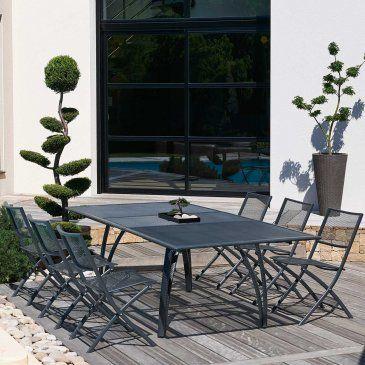 salon de jardin table alu chaises plateau rallonge papillon 180240 cm - Salon De Jardin Mtal Color