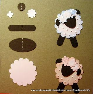 Sheep. Easter is around the corner, these are cute. This would also make a cute knitting or baby card!