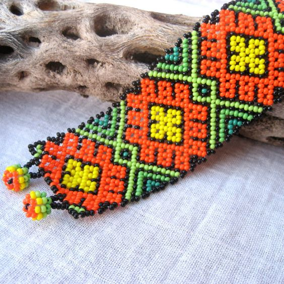 Colorful Beaded Huichol Bracelet with Peyote door MayaMerchant, $21.11