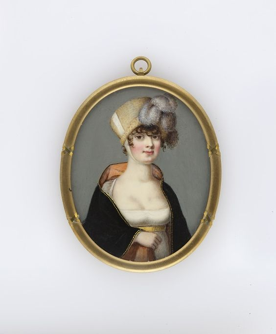 Author Unknown, A young lady in a poke bonnet, 1808-1812: