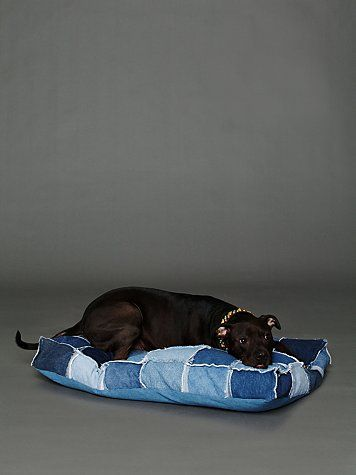 Patched Denim Dog Bed from FreePeople - Another use for used jeans :)