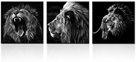 Amazon Com Kreative Arts X Large 3 Pieces Lion King Black And White Canvas Prints Wall Art Moder In 2020 Black And White Canvas Wall Art Canvas Prints Modern Painting