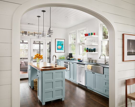 farmhouse kitchen w pale blue paint grade Shaker style cabinets ...