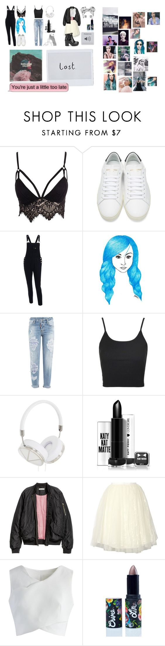 """""""HALSEY"""" by briar-valiant on Polyvore featuring Club L, Yves Saint Laurent, Dsquared2, Topshop, Frends, Alice + Olivia, Chicwish, Lime Crime and Hunter"""