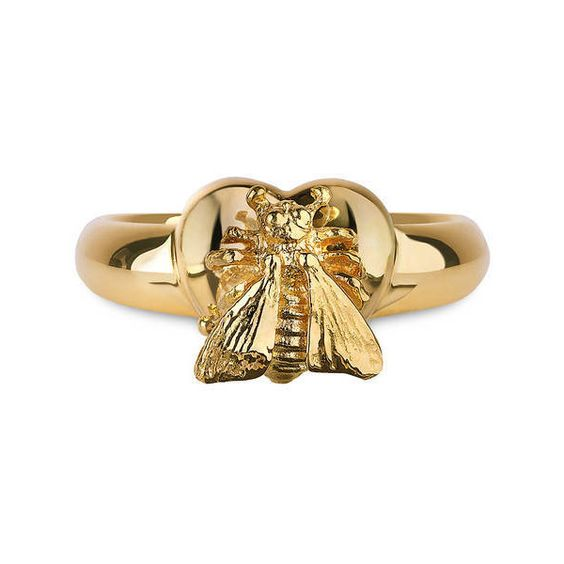 Gucci Le Marché Des Merveilles Ring ($1,300) ❤ liked on Polyvore featuring jewelry, rings, fine jewellery, jewellery & watches, honey bee jewelry, 18k ring, heart shaped rings and 18 karat gold ring