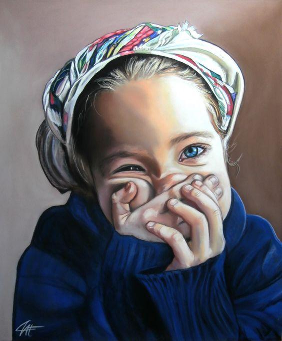 """""""LOLA, la petite chipie"""" Pastel sec sur papier abrasif 50 x 60 cm http://www.artmajeur.com/catherinewernette/"""