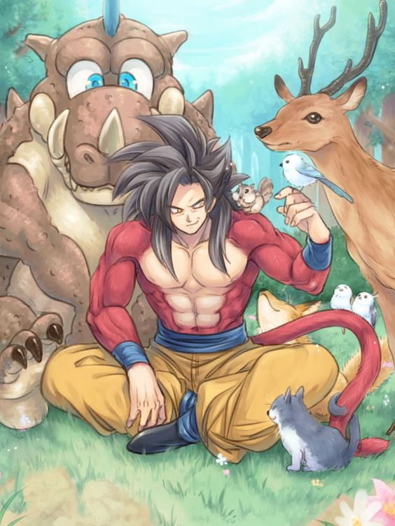 Goku SSJ4 with animal in the forest ( Dragon Ball G )