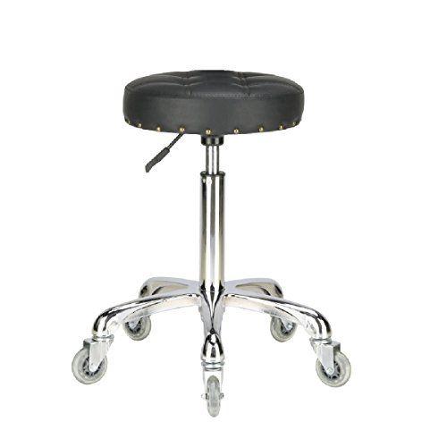 Karrie Swivel Stool Chair Adjustable Height Heavy Duty Hydraulic Rolling Metal Stool For Kitchen Salon Bar Office Massage Metal Stool Stool With Wheels Stool Heavy duty shop stool with wheels