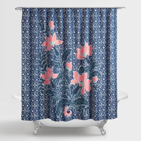 Indigo Blue Batik Floral Shower Curtain With Images Floral