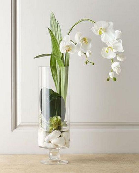 Vase Dekoration Ideen Kunstliche Orchideen Bodenvase Dekorieren