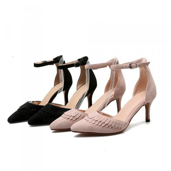 Sweet Women Pointed Stilettos High Heel Tassels Slip On Sheepskin Buckle Shoes