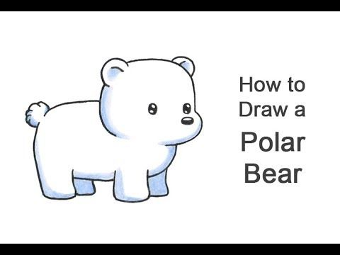 Learn How To Draw A Cartoon Polar Bear With This How To Video And Step By Step Drawing Instructions Ca Polar Bear Paint Polar Bear Drawing Polar Bear Cartoon