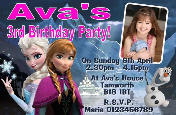 Personalised Disney Frozen Birthday Party Invitations