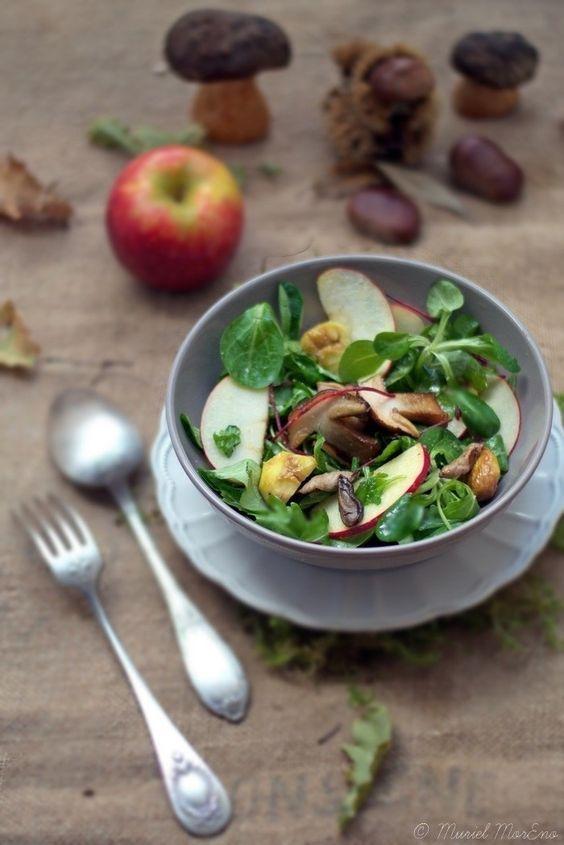 Salade Automnale aux Cèpes, Marrons et Pommes