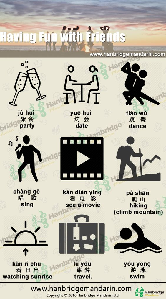Let's learn Chinese vocabulary of having fun with friends in China.
