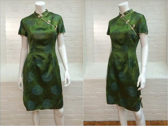 Jahrgang Cheongsam Kleid / / Damast grünes von expvintage auf Etsy
