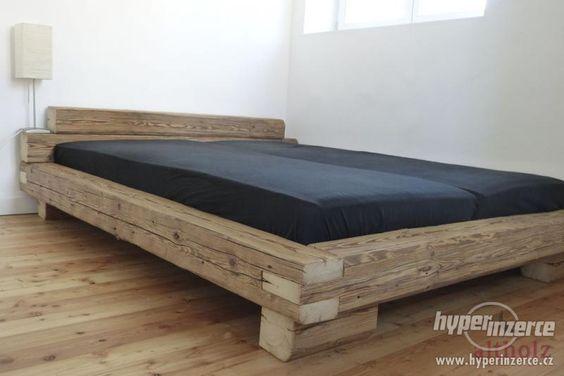 Balkenbett rustikal  Doppelbett Bett Balkenbett 200x200cm Wildeiche Eiche massiv geölt ...