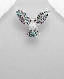 Winged Paua Shell Owl Necklace Sterling Silver