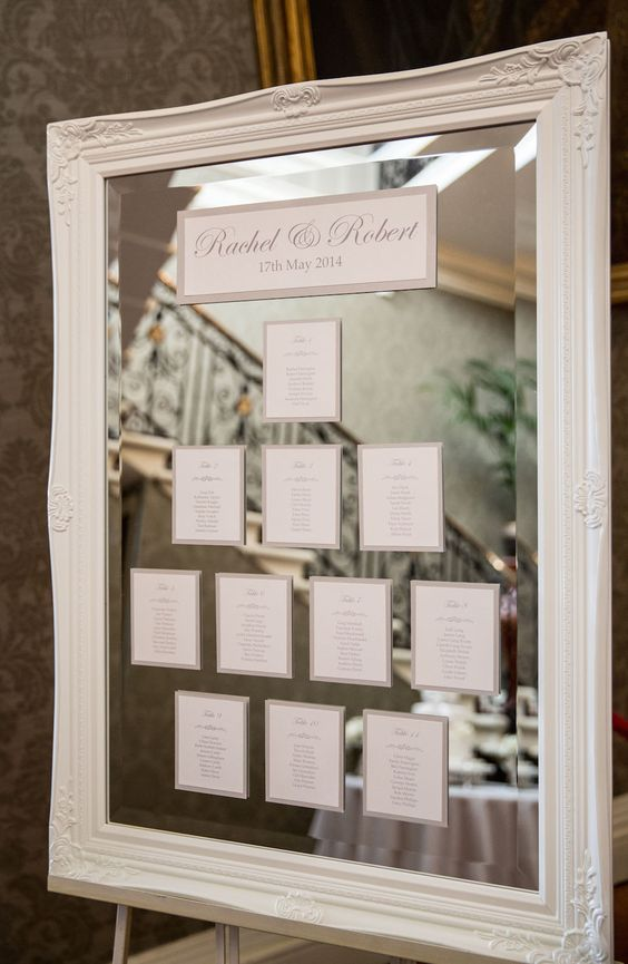 Large White Vintage Mirror Table Plan -   Image by Mike Garrard - Classic White Wedding At Hedsor House Buckinghamshire With Bride In Augusta Jones Gown With Rachel Simpson Shoes And Bridesmaids In Antique Rose Maids To Measure Gowns With Groom In Bespoke Suit From Gieves And Hawkes Savile Row