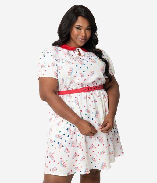 Care Bears X Unique Vintage Plus Size White Cheer Bear Print Care A Lo Evening Dresses Plus Size Vintage Brand Clothing Evening Dresses Uk