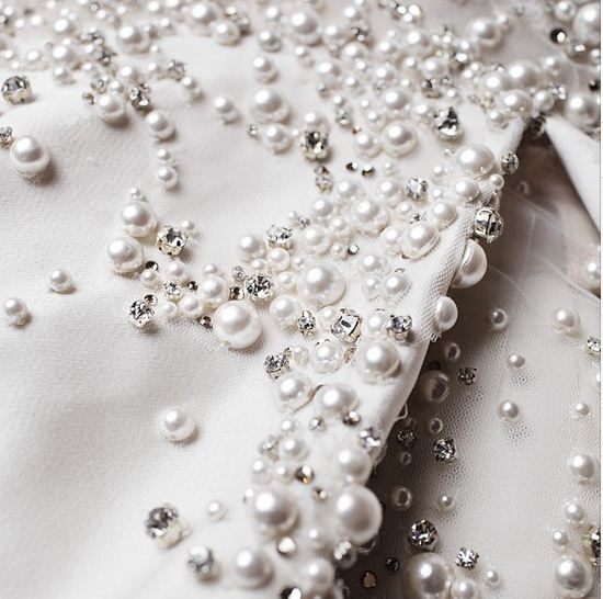 Crystal pearl embellished fabric detail for an elegant