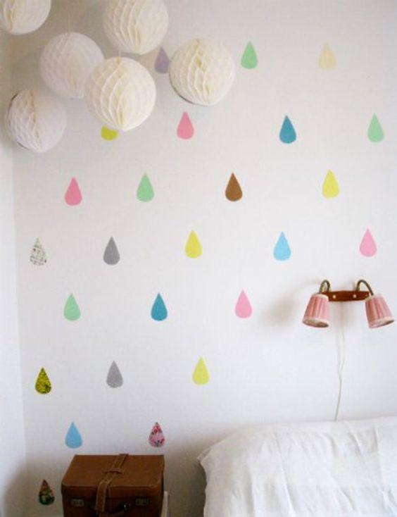Kinderzimmer Deko selber machen regen bunte regentropfen linge - deko kinderzimmer