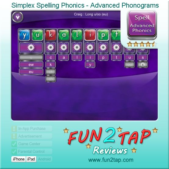 Simplex Spelling Phonics - Advanced Phonograms - Serious spelling support for kids. Full review at: http://fun2tap.com/index.cfm#id298
