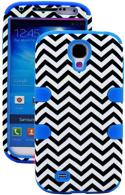 "Amazon.com: myLife (TM) Sky Blue - Chevron Design (3 Piece Hybrid) Hard and Soft Case for the Samsung Galaxy S4 ""Fits Models: I9500, I9505, ..."