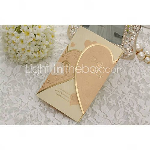 Elegant Golden Hearts Wedding Invitation - Set Of 50