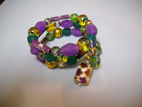 MARDI GRAS Party Bangle Beaded Memory Wire by Beads4You2008,
