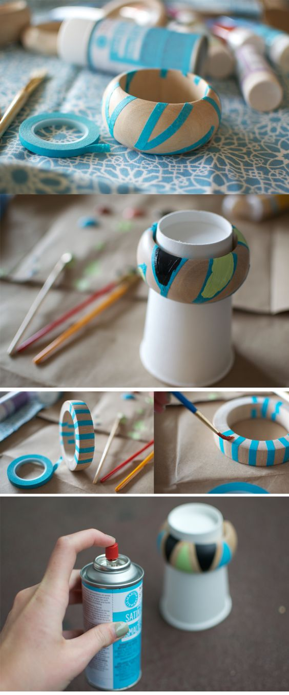 i think this might be too hard... bad idea?   DIY painted wood bangles