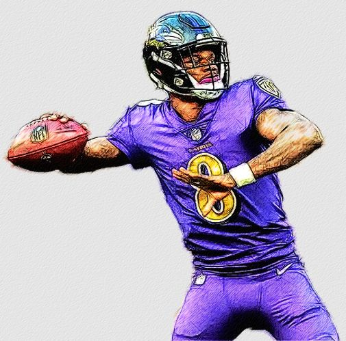 Baltimore Ravens Qb Lamar Jackson Baltimore Ravens Nfl Football Wallpaper Football Illustration
