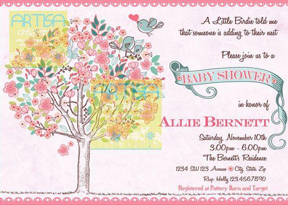 Tree Birds Baby Girl Shower Invitation  Birds by artisacreations, $12.00