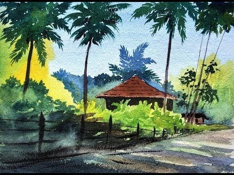 How To Paint A Village Scenery In Watercolor Drawing Houses Distant Trees Paint With Watercolor Landscape Paintings Watercolor Drawing Landscape Paintings