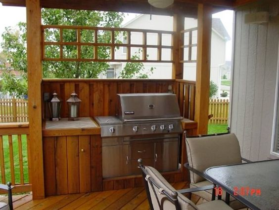 deck with outdoor kitchen Outdoors Pinterest Decking - mobile mini outdoor kuche grill party