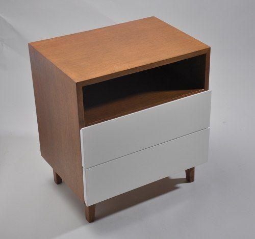 Mesa de luz de madera con dos cajones y estante - Sofas con cajones ...