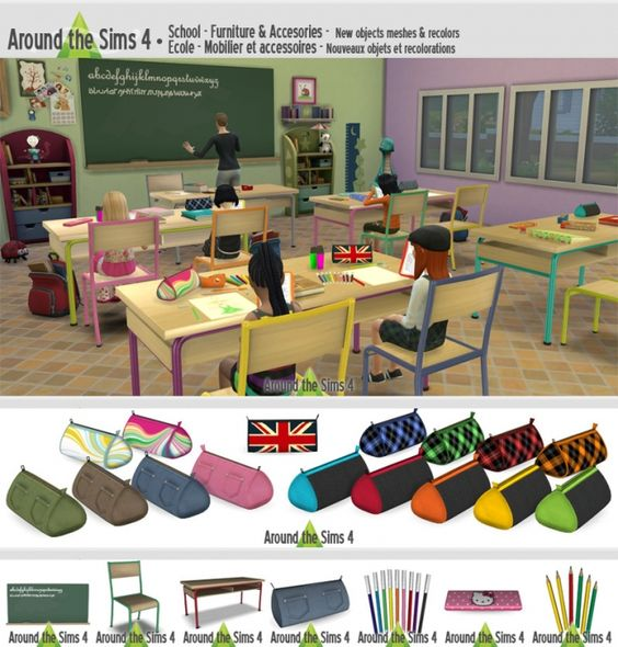 School accessories # 2 by Sandy at Around the Sims 4 via Sims 4 Updates