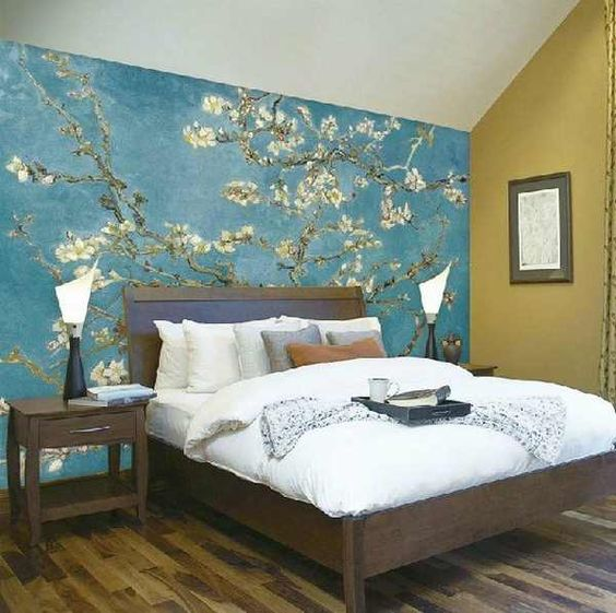 Rooms with one wall painted a different color google - How to paint murals on bedroom walls ...