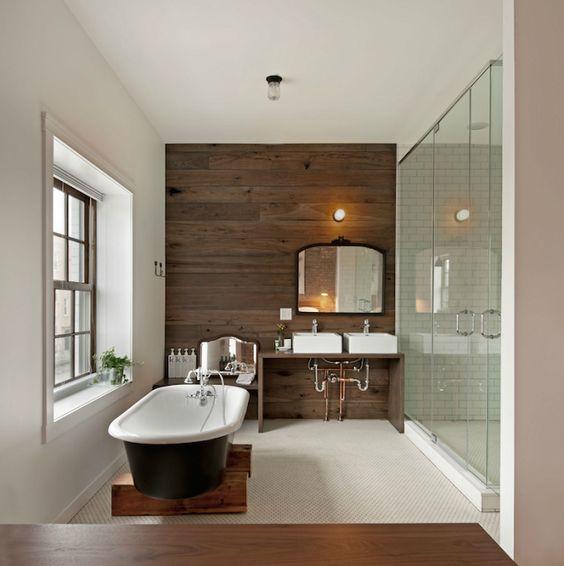 badezimmer ohne fliesen holz wandverkleidung badewanne glas dusche - schwarz wei fliesen bad
