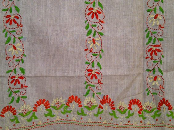 89x22 Cream Indian Tussar Silk Scarf with Hand Embroidery and Kantha Work Long Scarf (J14439). $27.99, via Etsy.