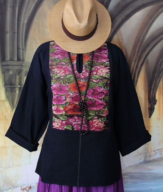 Hand embroidered Tunic, Floral Huipil Guatemala Hippie, Boho, Cowgirl, Peasant #Handmade #Huipil